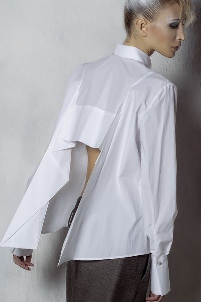 Contemporary Fashion - white shirt with graphic cut away back ...