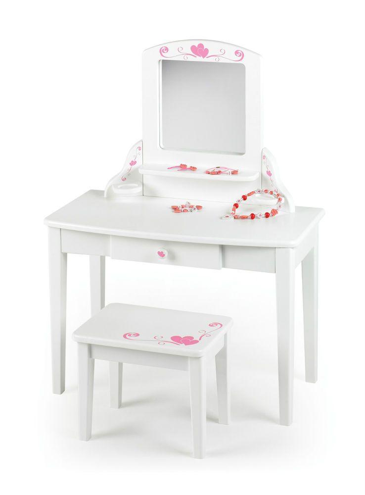 Princess Dressing Table Girls Vanity Unit White 3 Years Girls