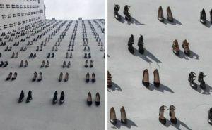 440 Paar Schuhe hängen an einem Gebäude zu Ehren von Frauen, die von ihren Männern getötet wurden