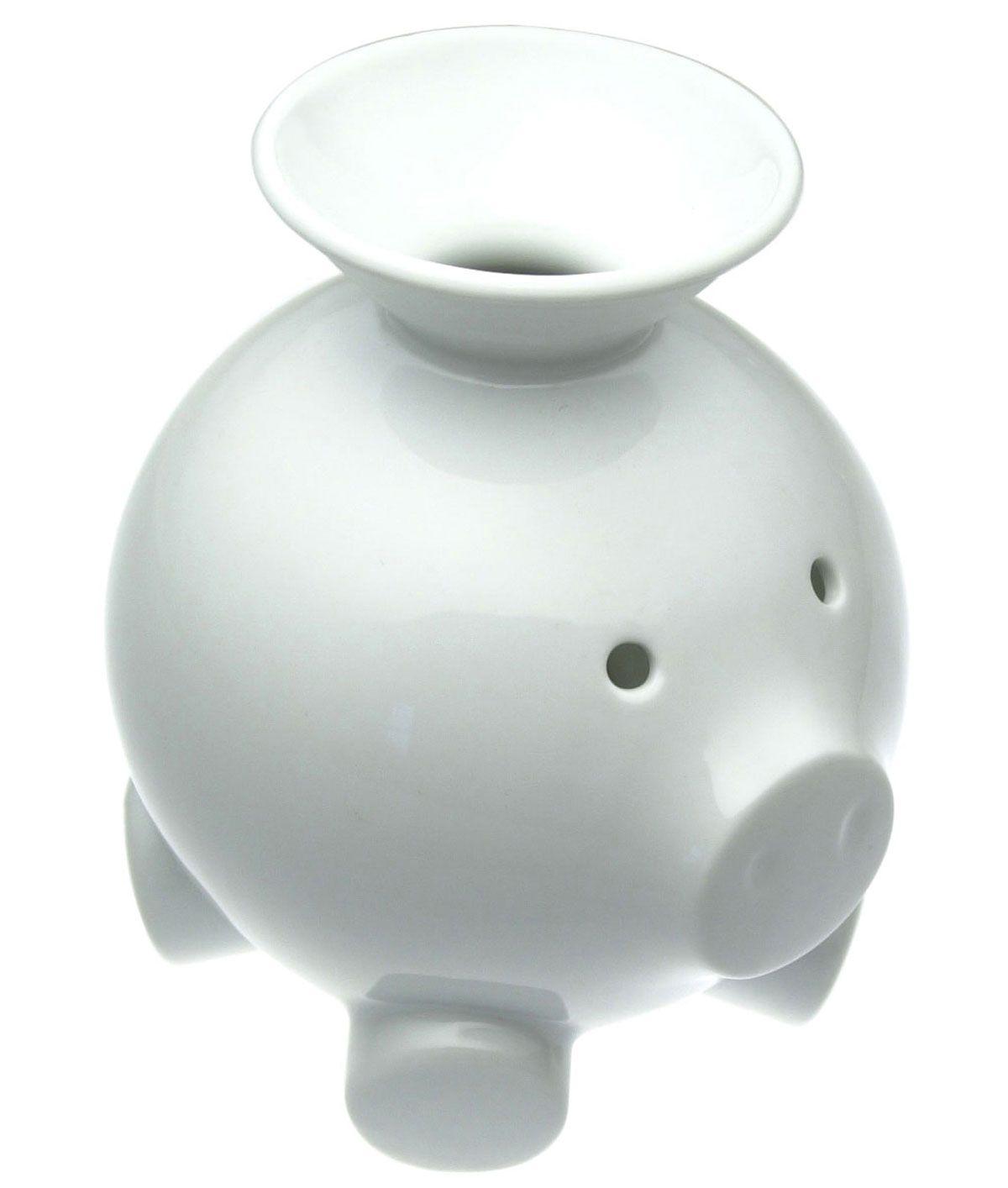 Coink Bank White Porcelain Piggy Bank Modern Funnel Opening