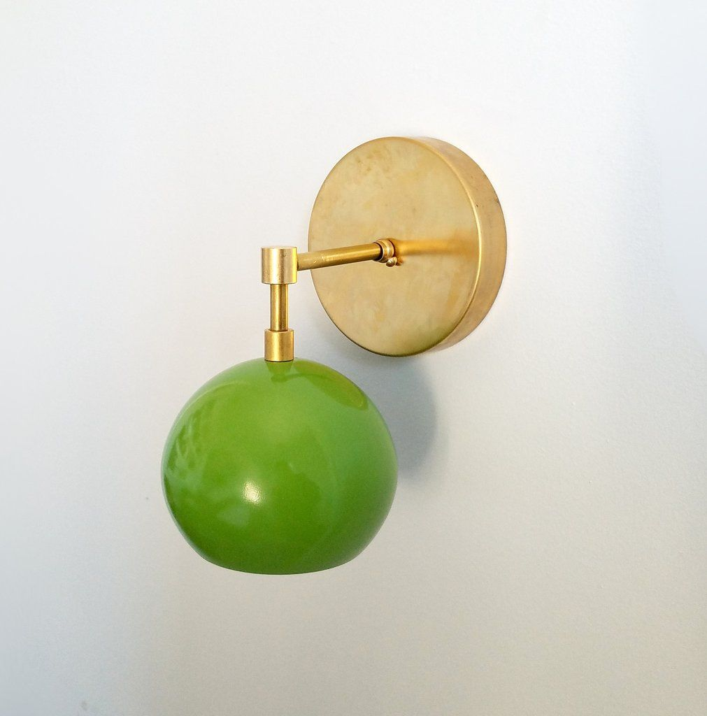 Loa Sconce with Spring Green Shade | Spring green, Mid-century ...