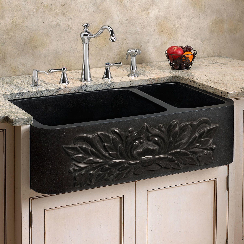 """33"""" Floral 70/30 Offset DoubleBowl Polished Granite"""