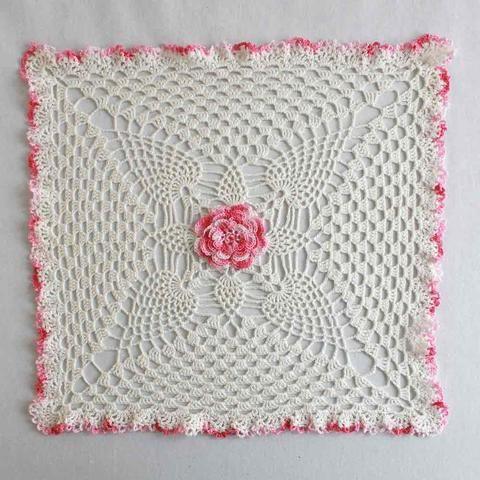 Pineapple Rose Granny Square Doily Crochet Pattern Cotton Thread