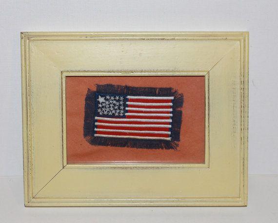 Unusual American Flag Framed Art  Wall Decor  by MuzettasWaltz