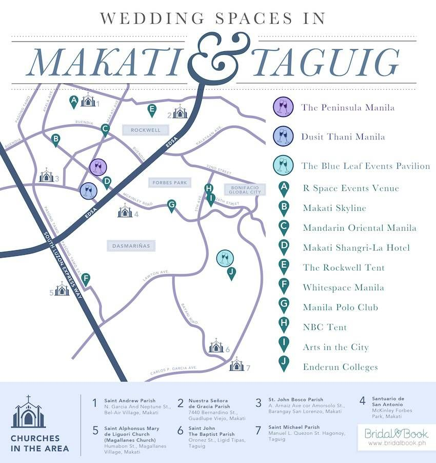 We map out ceremony and reception venues in Makati and Taguig www