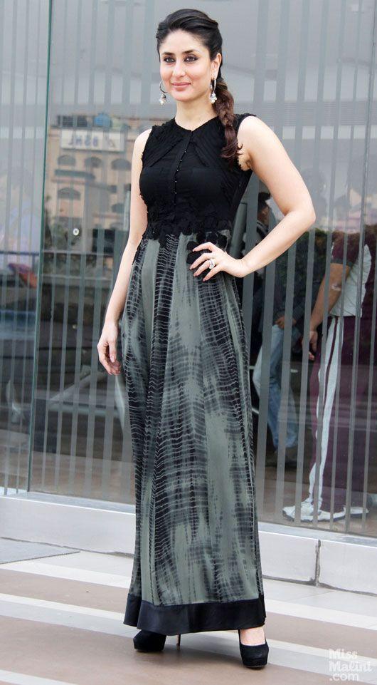 e9e302a38a4 Kareena Kapoor Khan wears a black and grey ensemble for a promo event in  Delhi.