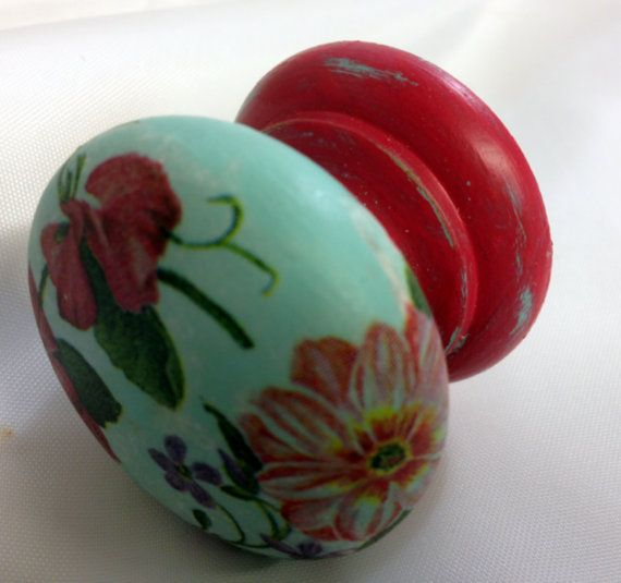RASPBERRY PINK TURQUOISE BLUE FLORAL DRAWER PULL CUPBOARD HANDLE DRESSING TABLE