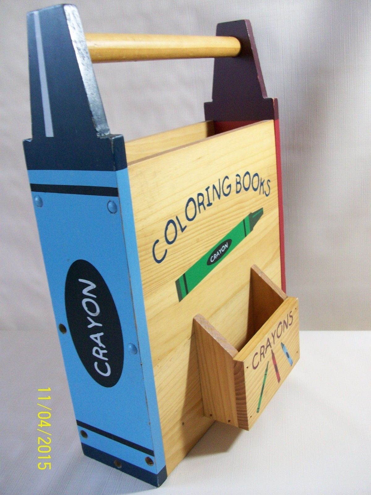Wooden Coloring Book Box Crayons Storage Boys Girls