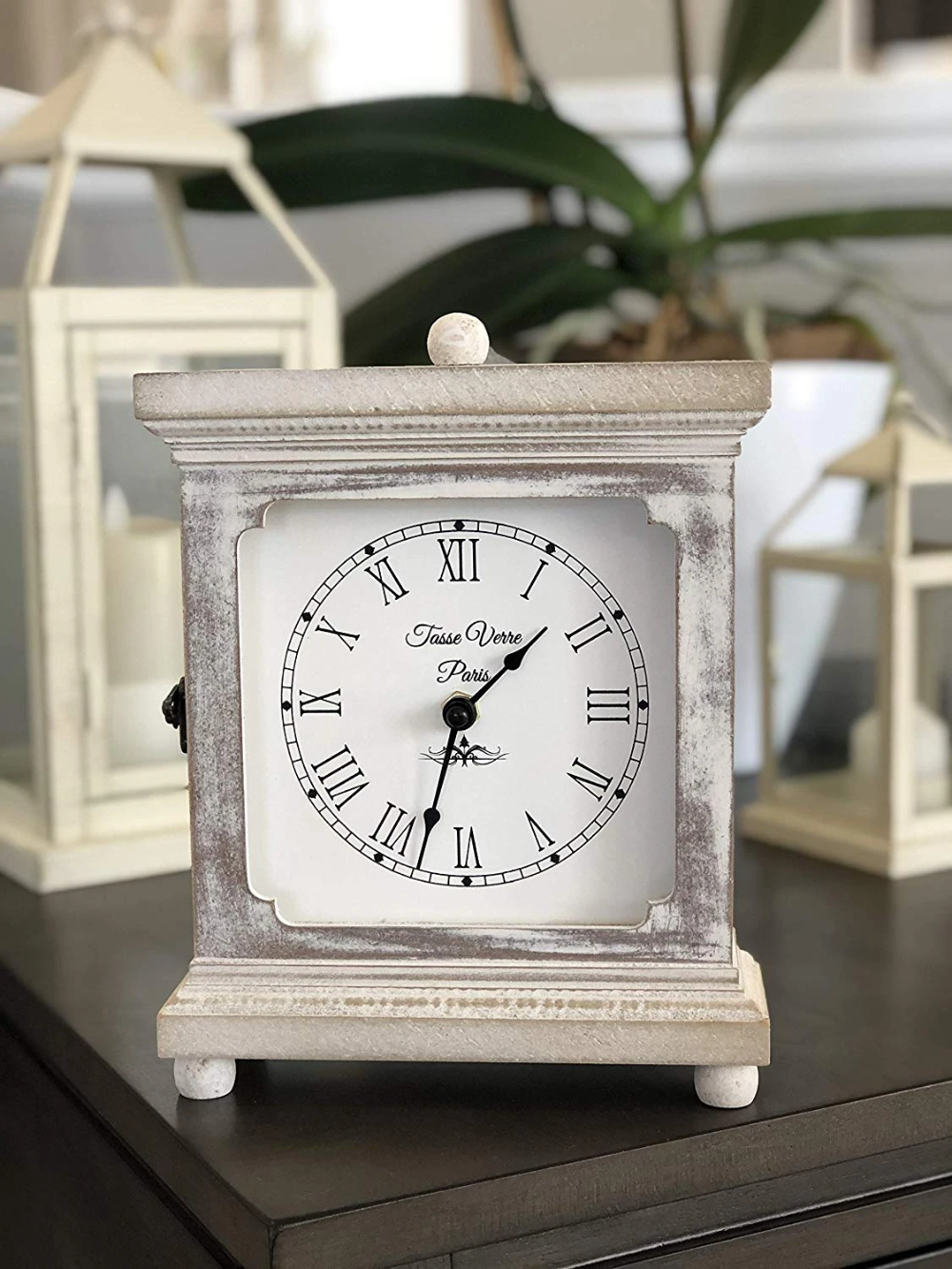 Rustic Wood Clock For Shelf Table Or Desk 9 X7 Farmhouse Decor Distressed White Washed Mechanical Powered For Office Bedroom Fireplace Mantel Living Family In 2020 Rustic Wood Clocks Wood