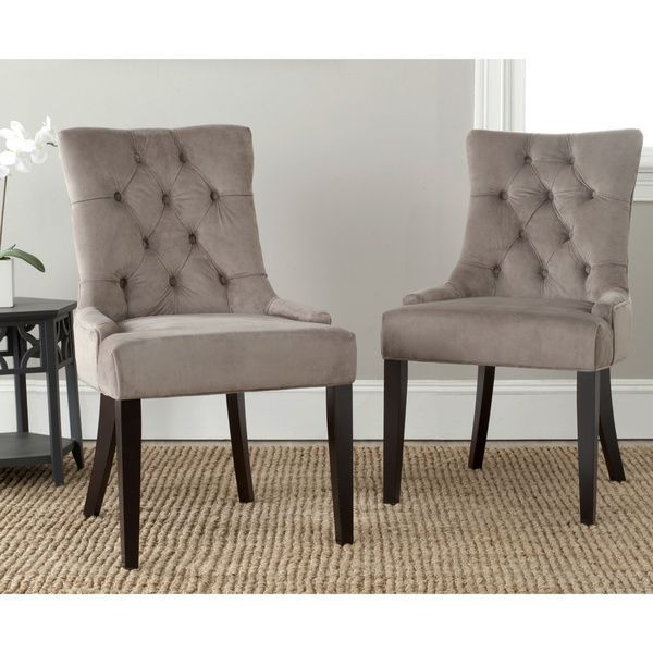 Safavieh Ashley Mushroom Taupe Side Chairs Set Of 2  Overstock Pleasing Taupe Dining Room Chairs Decorating Inspiration