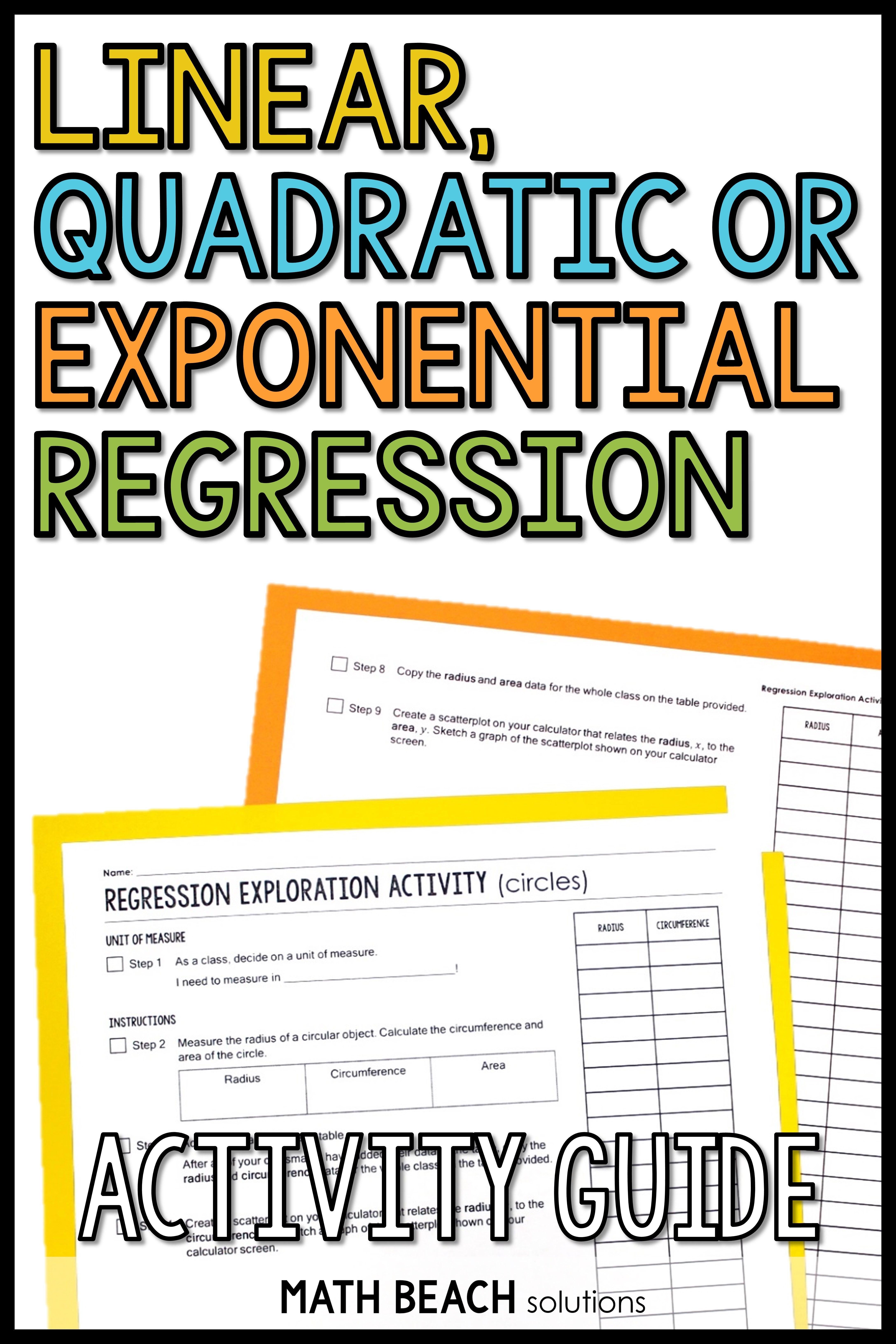 Regression Activity Guide Quadratics Algebra Resources Exponential