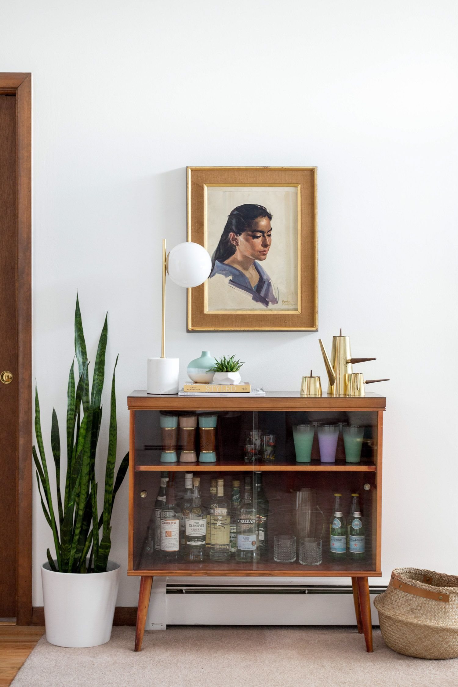 Retro Mid Century bar inspiration in this A Frame home Take the