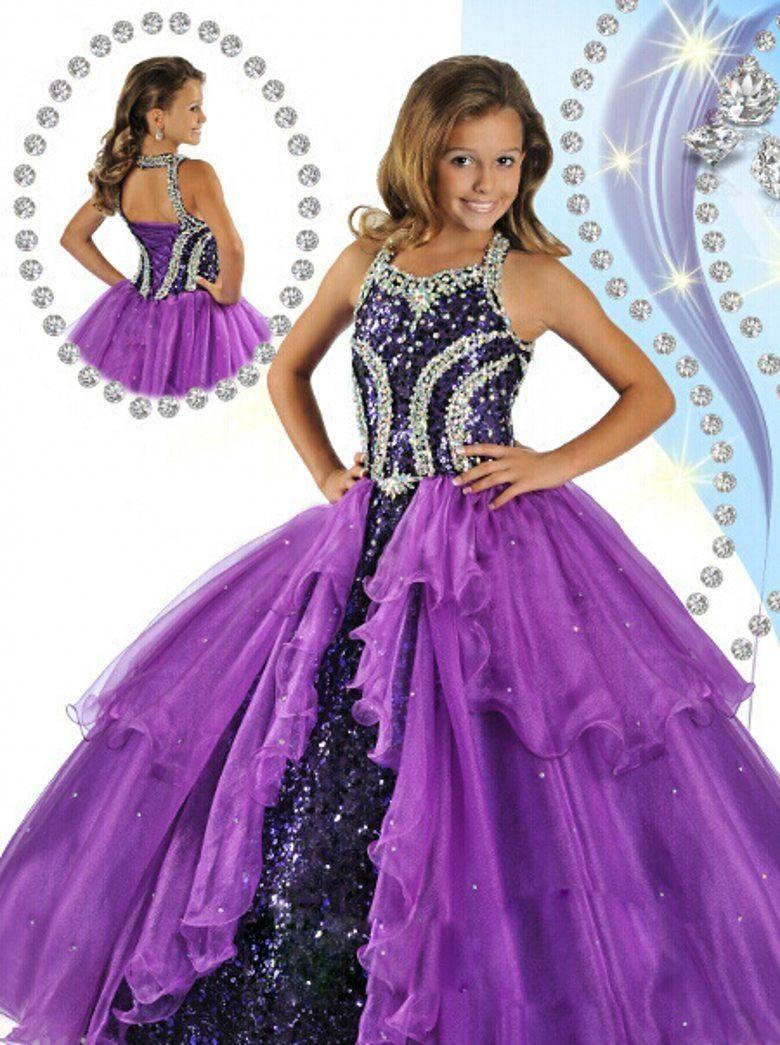 Bonnie jean dresses 2014 amazing purple ball gown halter beads bonnie jean dresses 2014 amazing purple ball gown halter beads sequins custom made organza floor length ombrellifo Choice Image