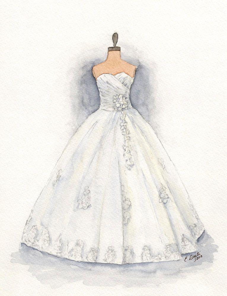 Wedding Dress Art Print Watercolor Bridal Gown by WatercolorsbyLiz ...