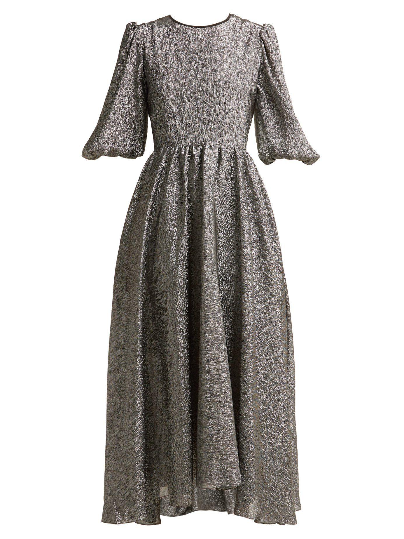 efacaa14 Open-back metallic silk-blend dress | Anna October | MATCHESFASHION.COM US