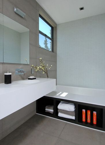 We Love The Holistic Design Approach Of This Bathroom Integrated Corian Sinks Tub Storage Via Maydan Architects