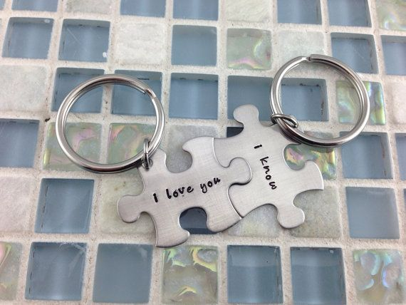 Star Wars inspired - Han Solo/Leia I Love You/I Know - matching puzzle piece keychains on Etsy, $25.00