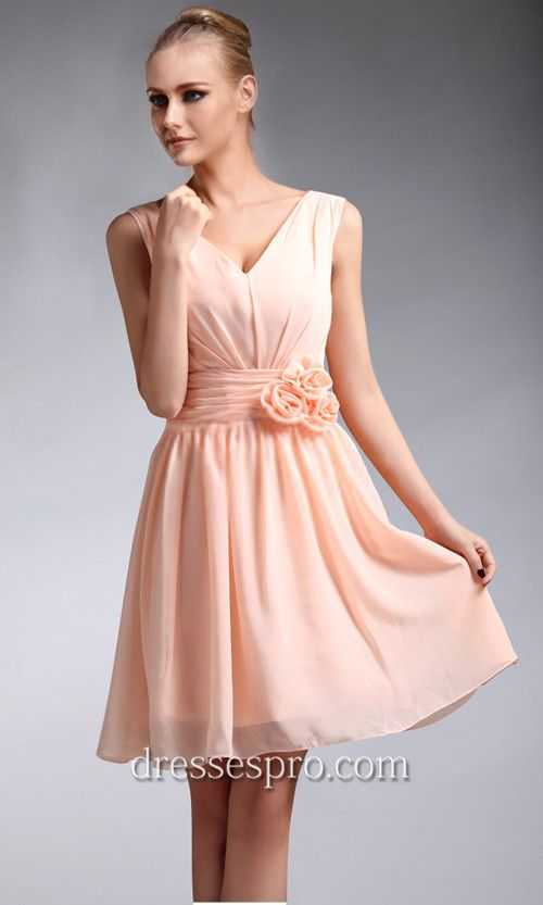 Nude Pink V-neck Short Bridesmaid Dresses 2014 cocktail dress ...