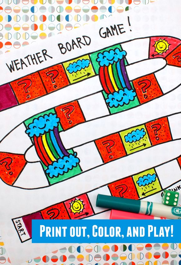 Printable Weather Board Game | Free Printables | Preschool board ...