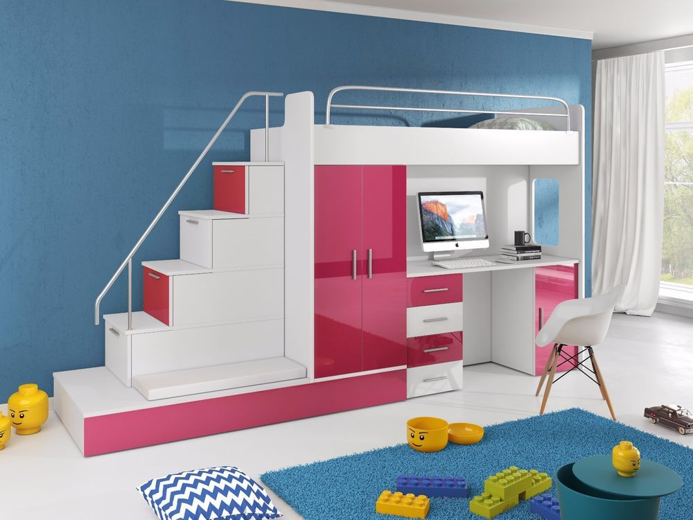 Bunk Bed With Mattresses Wardrobe Desk Bed Stairs Kids