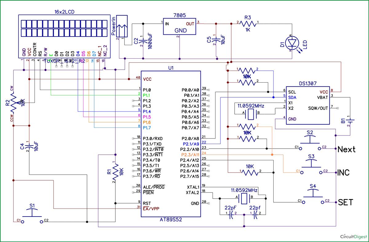 8051 Digital Clock Circuit Diagram | Часы in 2019 | Digital