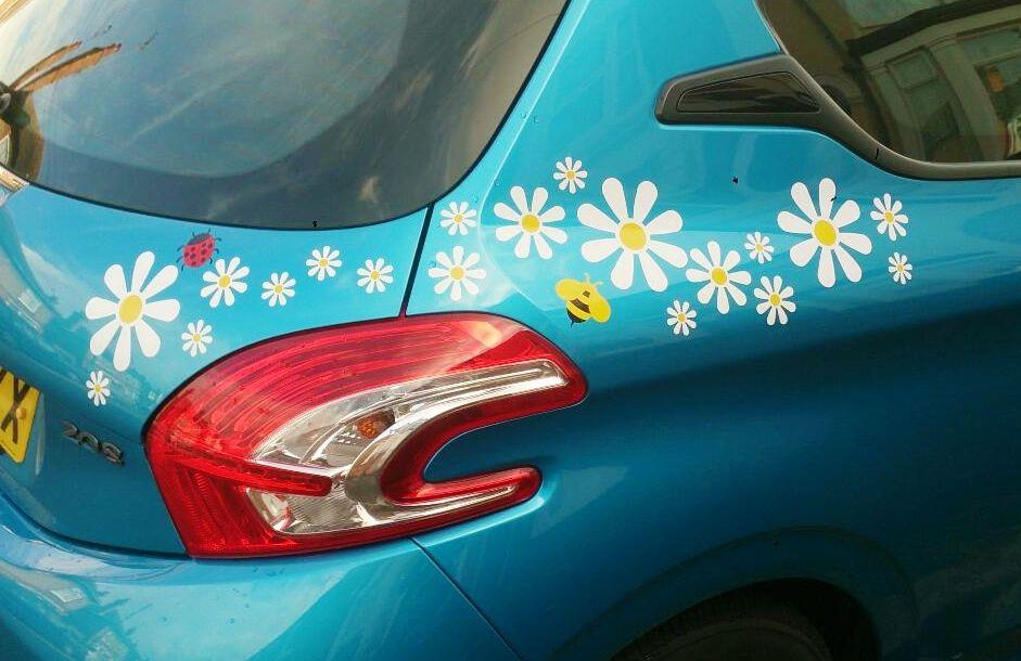 Hippy motors daisy car stickers bee camper van decals and ladybird caravan stickers