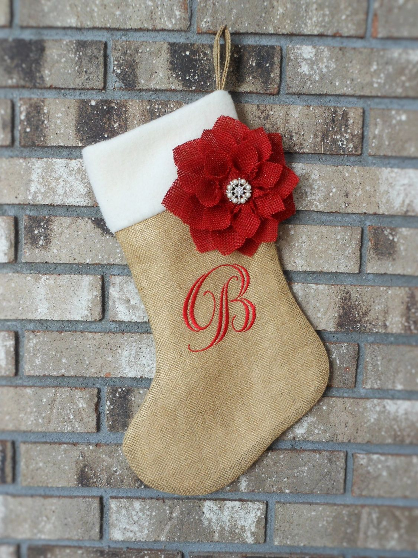 Gold Burlap Christmas Stocking. Burlap and Poinsettia Stocking. Burlap Flower. Rustic Christmas. Option of Personalized Stocking by ThimblefulThreads on Etsy