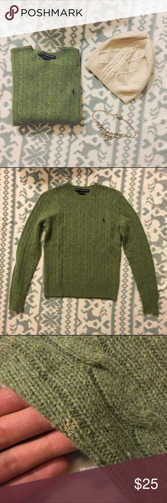 RL SPORT Green 100% Lambs Wool Cable Knit Sweater Ralph Lauren Sport Green Sweater. 100% Lambswool. In good condition. Light pilling throughout. I found two holes. One near the front collar (not pictured) and a larger one on the back of the left sleeve (photo #4). Light stain on the lower left sleeve. I think it should be able to come out with some care. 💗💗 Super cute for the fall and winter!! 💗💗 will consider all offers. Ralph Lauren Sweaters Crew & Scoop Necks
