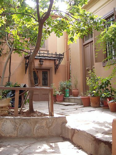 Athens/Greece: typical old Athenian house with its inner ...