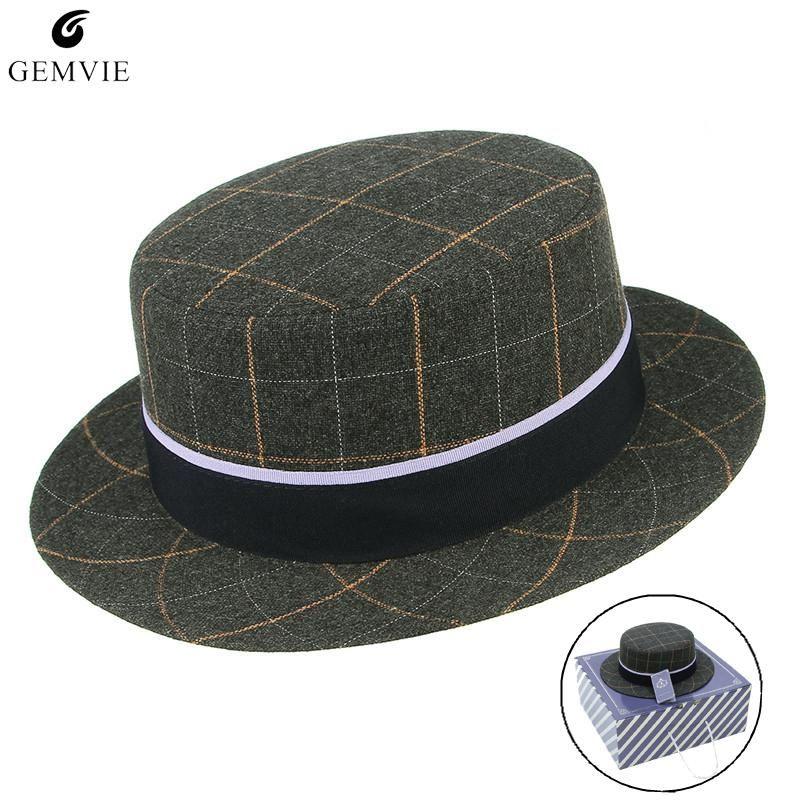 British Style Men Jazz Cap Fedora Hats Vintage Fashion Plaid Flat-top Narrow Brim Wool Blend Felt Hats