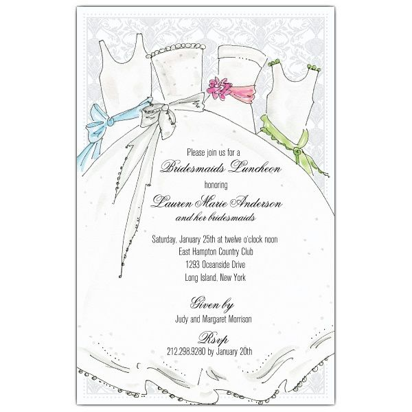 bridal party bridesmaids luncheon invitations paperstyle wedding