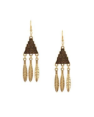 Sparkling Sage 14K Plated Feather Drop Earrings