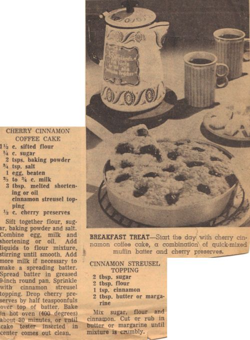 Vintage Recipe Clipping For Cherry Cinnamon Coffee Cake