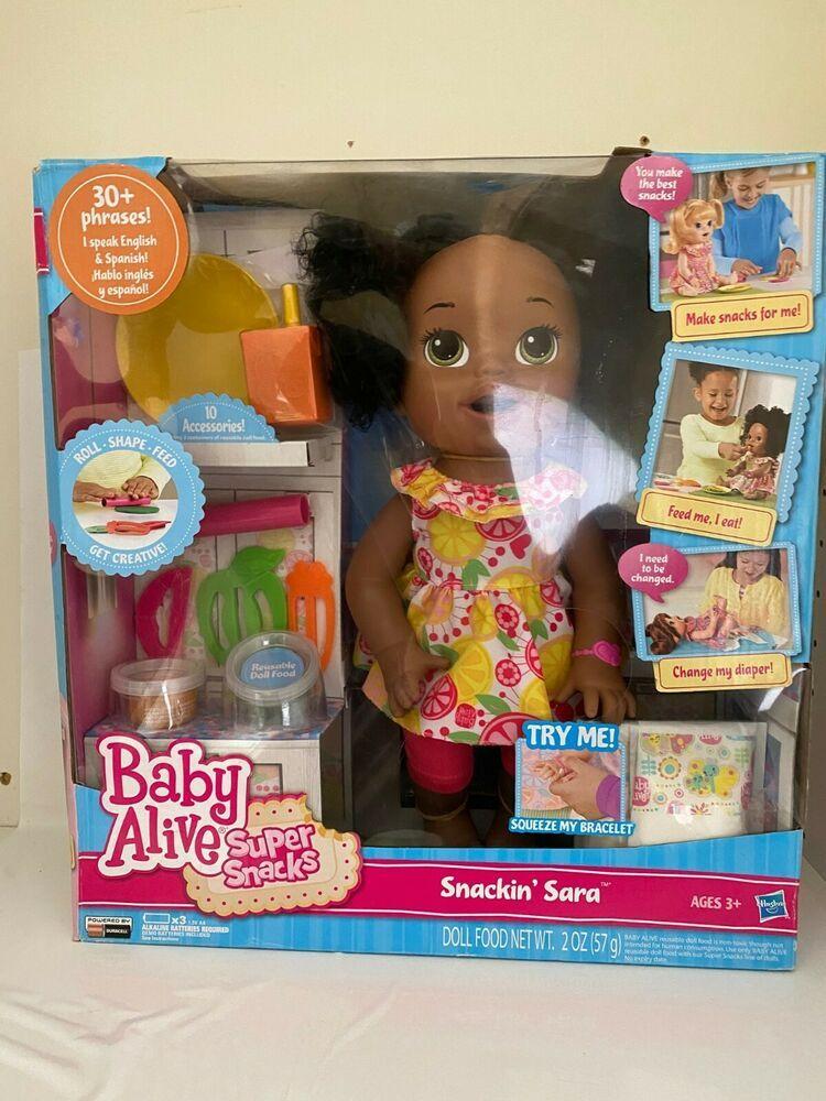 Baby Alive Super Snacks Snackin Sara African American Ebay In 2020 Baby Alive Super Snacks Doll Food