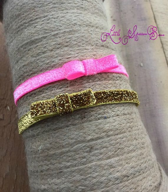 COMBO Listing for 2 mini bows hot pink & gold tinsel elastics #littlesparrowbows