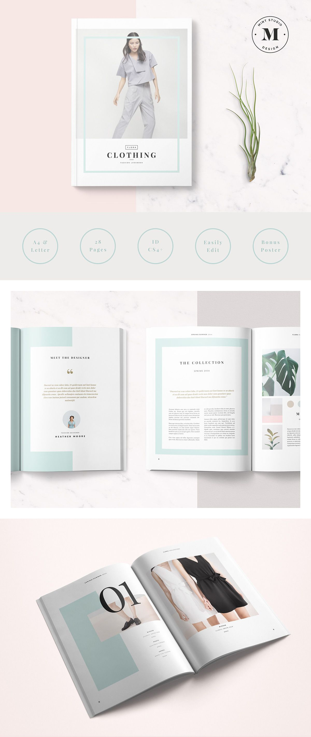 The Flora Lookbook template is a 28 page Indesign brochure template ...