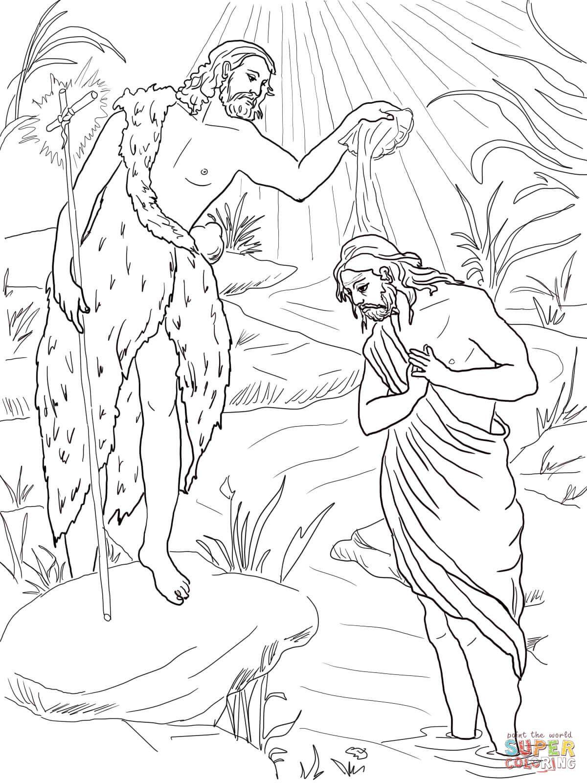 Juan Bautista bautizando a Jesús | Super Coloring | trabajos de ...