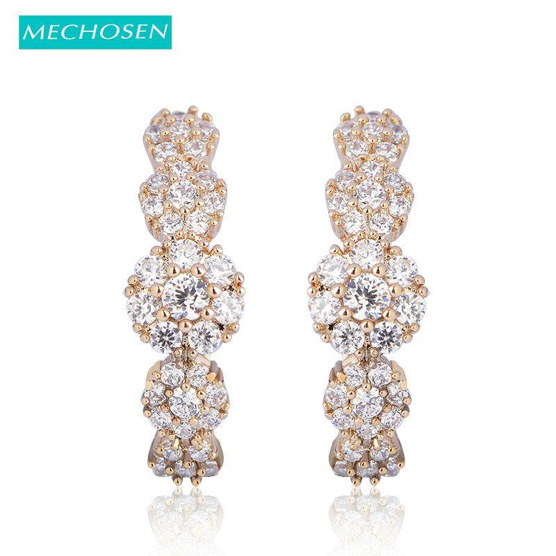 MECHOSEN Brilliant CZ Zirconia Stud Earrings For Women Wedding Joias Ouro Flower Brincos Party Fashion Jewelry Boucle d'oreille