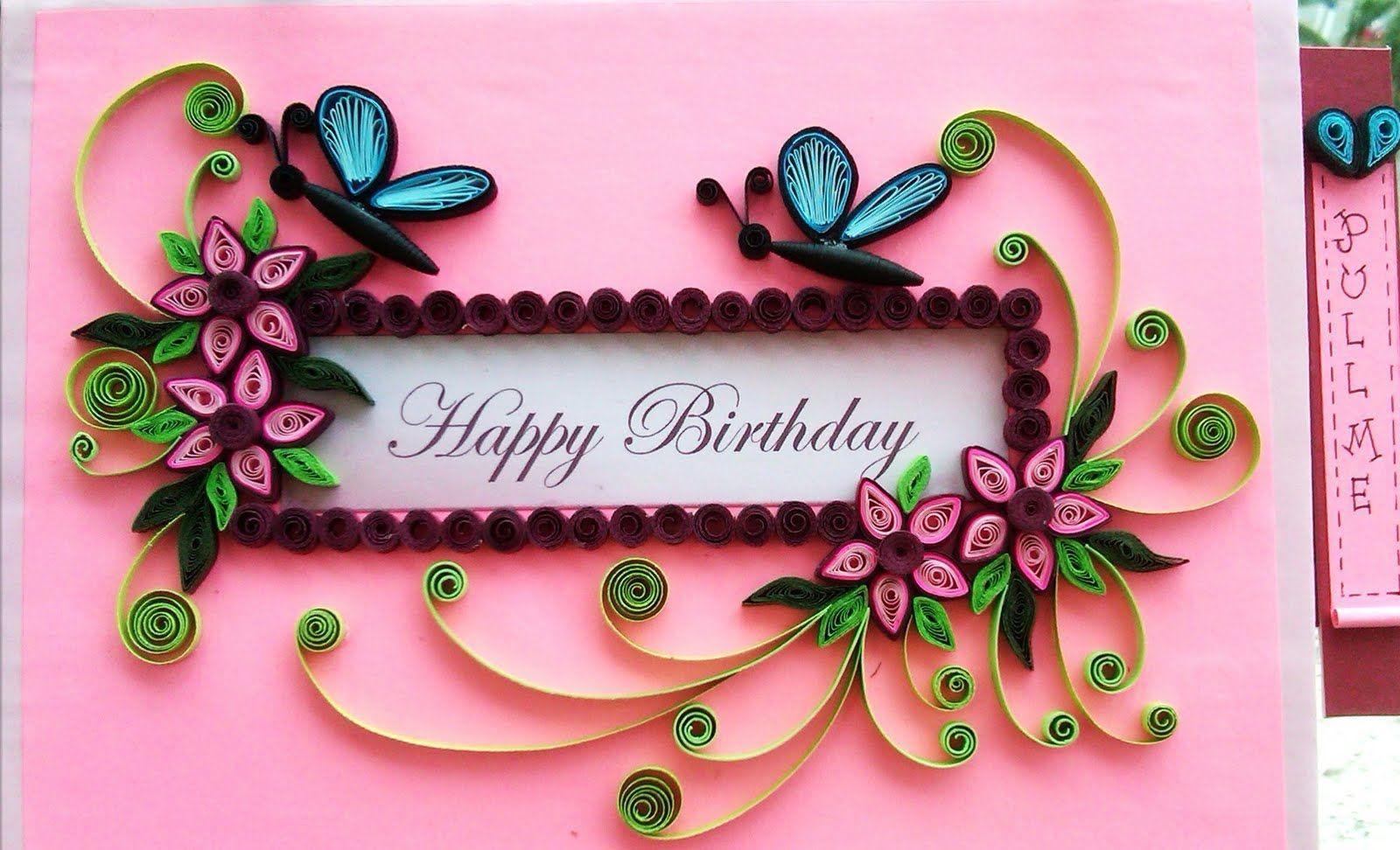красивая открытка с днем рождения в стиле квиллинг находится