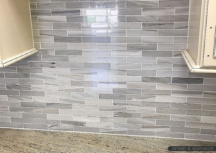 Gray White Some Brown Tones Modern Subway Kitchen Backsplash Tile From Kitchen