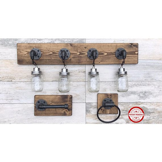 Photo of Bathroom Set, Mason Jar Light Fixture, Rustic Towel Holder, Towel Ring, Toilet Paper Holder, Rustic, Industrial, Farmhouse, Unique Home Set