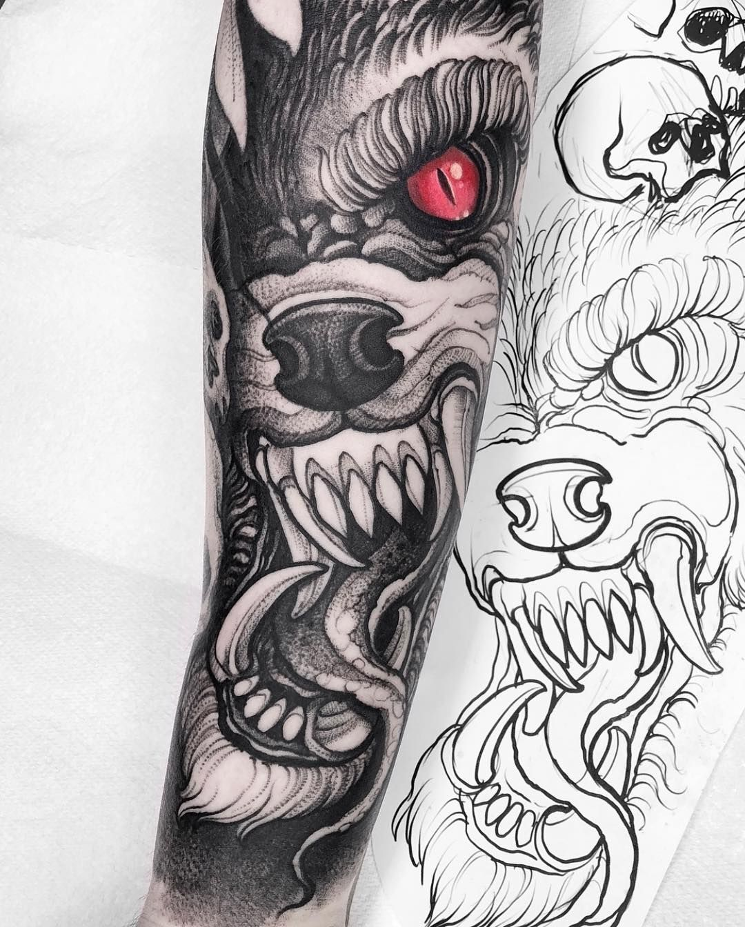 Did This Werewolf I Think Just Drew It And Come Out Like This I Am Not Sure What It Is Anyway Third Ses Werewolf Tattoo Wolf Tattoo Sleeve Dark Tattoo
