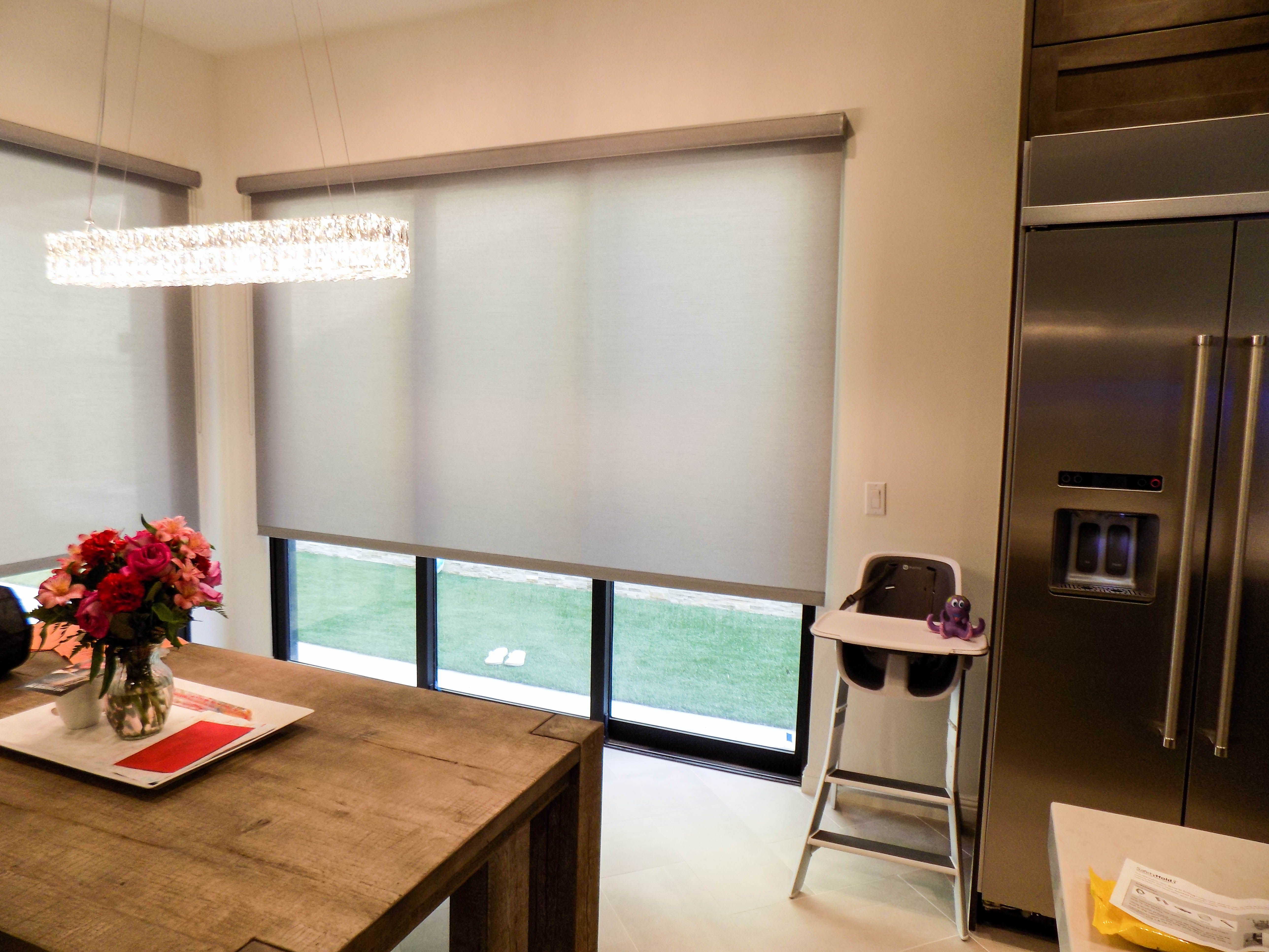 Indoor roller shades with eco silk roller shade fabric on compacting