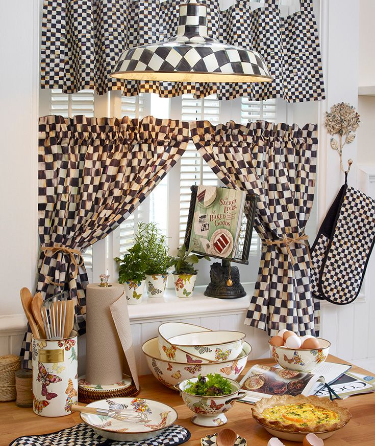 Mackenzie Childs Courtly Check Kitchen Cafe Curtains