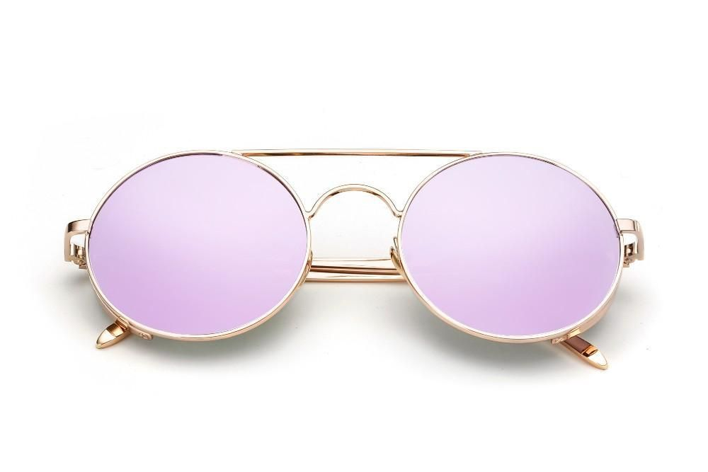 f4f8c6e29f468 Eyewear Type: Round Mirror Sunglasses Gender: Women Lenses Optical  Attribute: Mirror, Anti-Reflective, UV400 Frame Material:Copper Lenses  Material:Acrylic ...