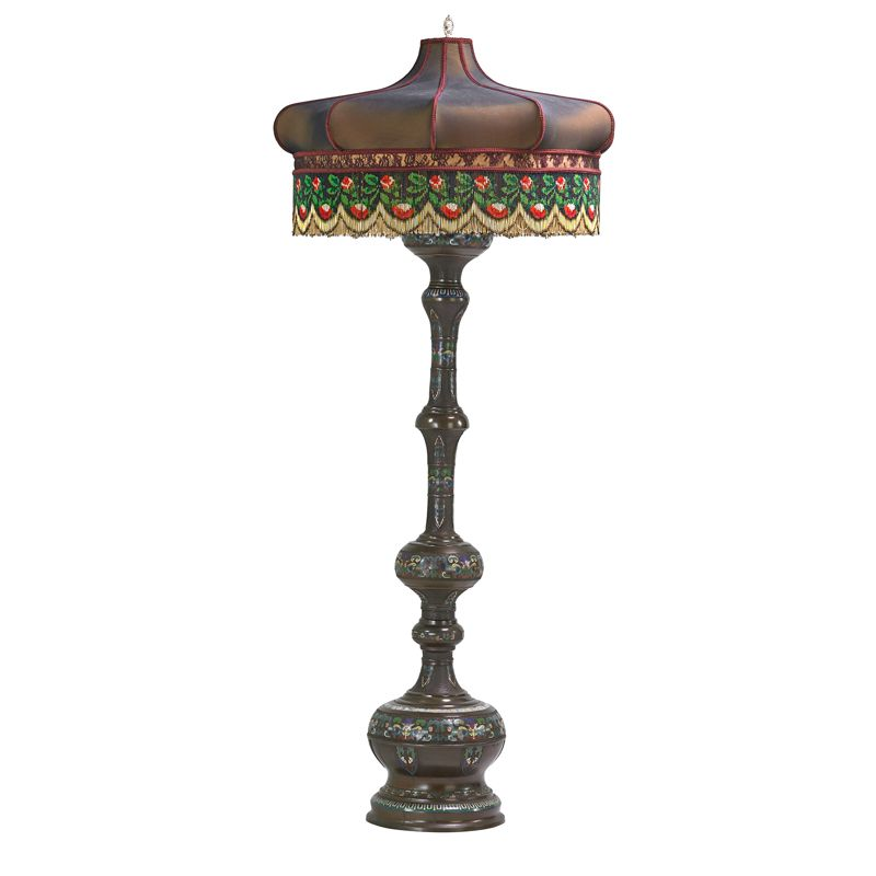 Japanese Champleve Floor Lamp - JAPANESE CLOISONNE FLOOR LAMP; Bronze and enamel base Japanese Champleve Floor Lamp