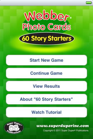 Story Starters is a great app by SuperDuper Inc.! There are over 80 pictures that can be used for all aspects of speech/language therapy! App is $3.99 on iTunes app store.