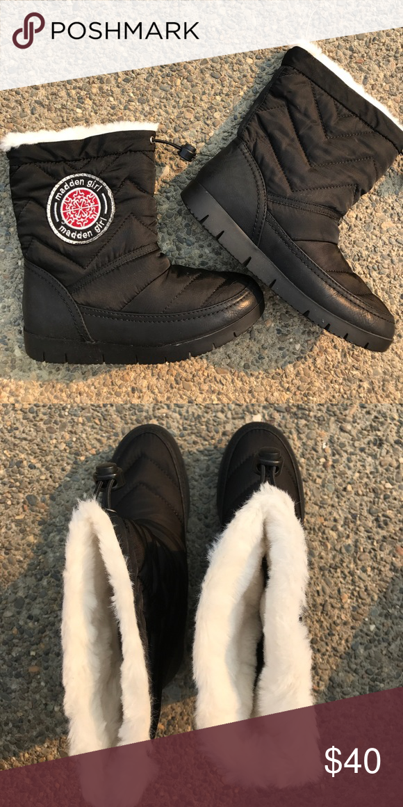 Madden Girl Fur Lined Black Snow Boots