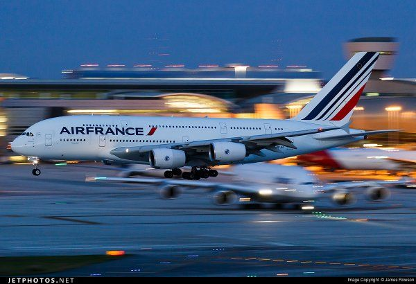 Air France A380 landing at MIA - by James Rowson