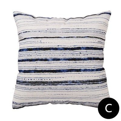 Blue And White Striped Throw Pillows For Living Room Watercolor Cushions
